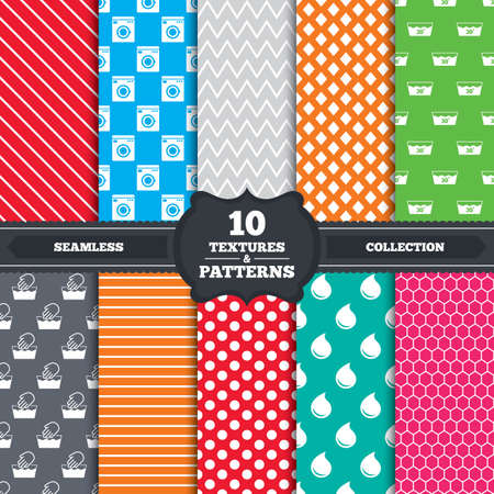 washhouse: Seamless patterns and textures. Hand wash icon. Machine washable at 30 degrees symbols. Laundry washhouse and water drop signs. Endless backgrounds with circles, lines and geometric elements. Vector Illustration