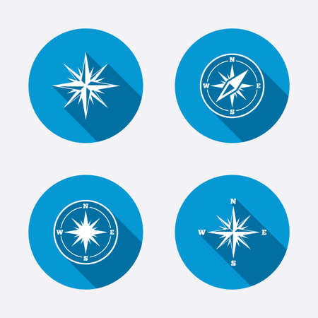 coordinate: Windrose navigation icons. Compass symbols. Coordinate system sign. Circle concept web buttons. Vector Illustration