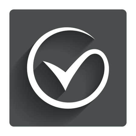Tick sign icon. Check mark symbol. Gray flat square button with shadow. Modern UI website navigation Illustration