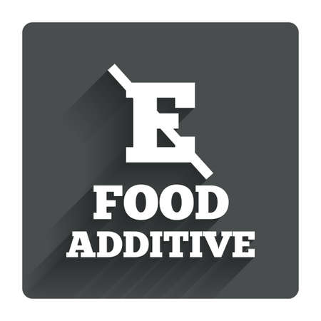 stabilizers: Food additive sign icon. Without E symbol. Healthy natural food. Gray flat square button with shadow. Modern UI website navigation Illustration