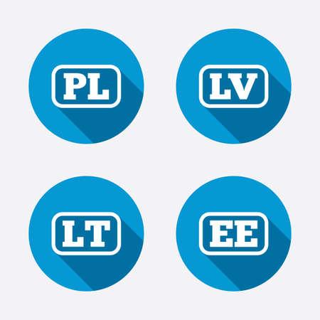 ee: Language icons. PL, LV, LT and EE translation symbols
