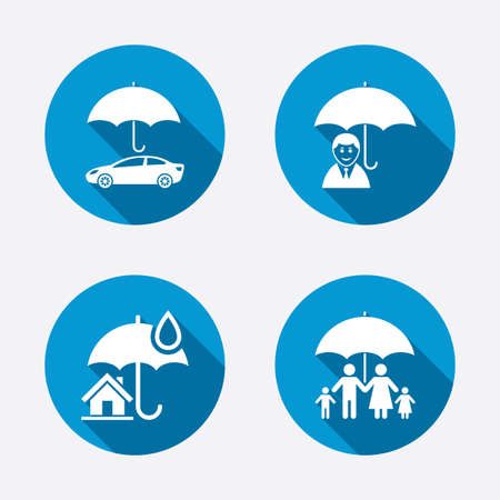insurance concepts: Family, Real estate or Home insurance icons Illustration