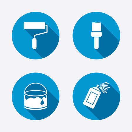 Painting roller, brush icons. Spray can and Bucket of paint signs. Wall repair tool and painting symbol. Circle concept web buttons