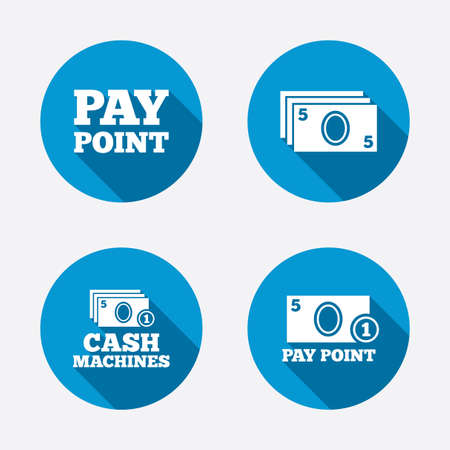 withdrawal: Cash and coin icons. Cash machines or ATM signs. Pay point or Withdrawal symbols. Circle concept web buttons