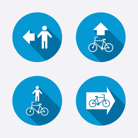 pedestrian: Pedestrian road icon. Bicycle path trail sign. Cycle path. Arrow symbol. Circle concept web buttons
