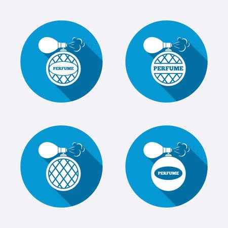 parfum: Perfume bottle icons. Glamour fragrance sign symbols. Circle concept web buttons Illustration