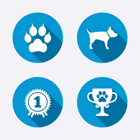 cups silhouette: Pets icons. Cat paw with clutches sign. Winner cup and medal symbol. Dog silhouette. Circle concept web buttons