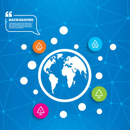 pp: Abstract world globe. PET 1, PP-pe 07, PP 5 and PE icons. High-density Polyethylene terephthalate sign. Recycling symbol. Molecule structure background