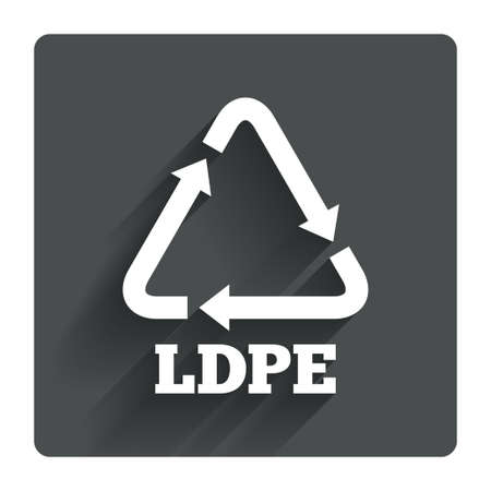 monomer: Ld-pe icon. Low-density polyethylene sign. Recycling symbol. Gray flat square button with shadow. Modern UI website navigation. Vector