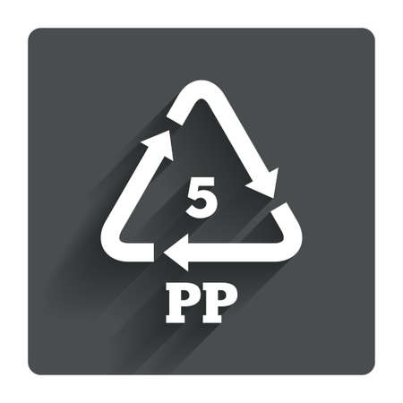 pp: PP 5 icon. Polypropylene thermoplastic polymer sign. Recycling symbol. Gray flat square button with shadow. Modern UI website navigation. Vector