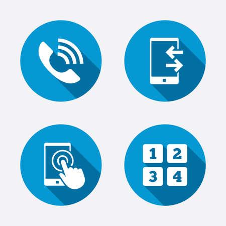 電話のアイコン。画面スマート フォン ログイン] をタップします。センター サポート シンボルを呼び出します。携帯電話のキーボードの記号です。着信および outcoming コール。サークル コンセプトの web ボタン 写真素材 - 38632808