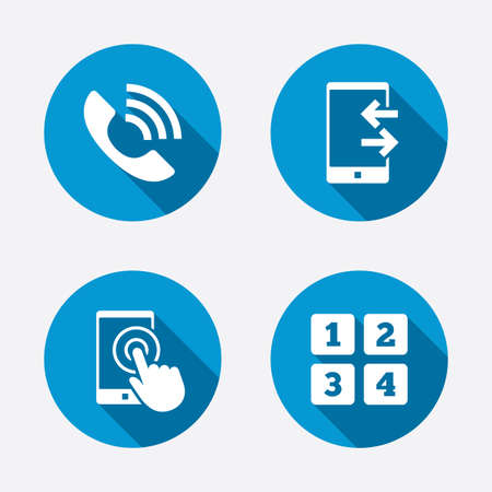 Phone icons. Touch screen smartphone sign. Call center support symbol. Cellphone keyboard symbol. Incoming and outcoming calls. Circle concept web buttons Stock Illustratie