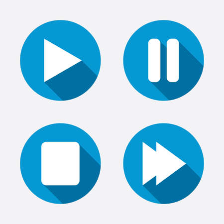 Player navigation icons. Play, stop and pause signs Vector