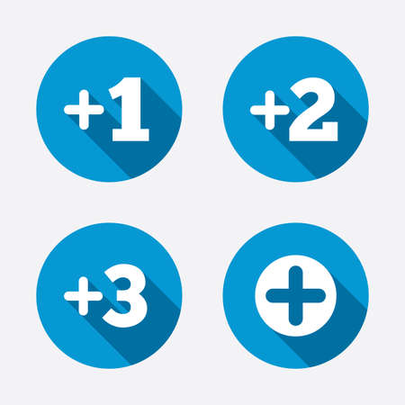 append: Plus icons. Add one, two, three Illustration