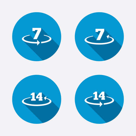 return: Return of goods within 7 or 14 days icons