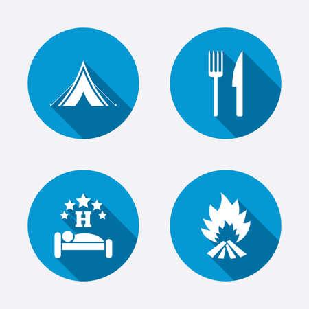 fork road: Alimentaci�n, el sue�o, la tienda de campa�a y el fuego iconos. Cuchillo y tenedor. Hotel o alojamiento y desayuno. Las se�ales de tr�fico. Botones concepto de web de c�rculo. Vector
