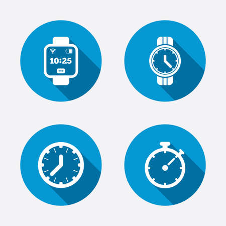 Smart watch icons. Mechanical clock time, Stopwatch timer symbols. Wrist digital watch sign. Circle concept web buttons. Vector