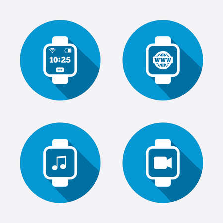 watch video: Smart watch icons. Wrist digital time watch symbols. Music, Video, Globe internet and wi-fi signs