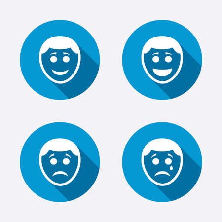 shadow face: Human smile face icons. Happy, sad, cry signs