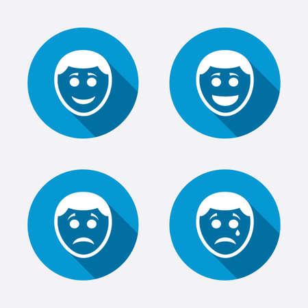 happy sad: Sorriso umano viso icone. Felice, triste, segni cry Vettoriali