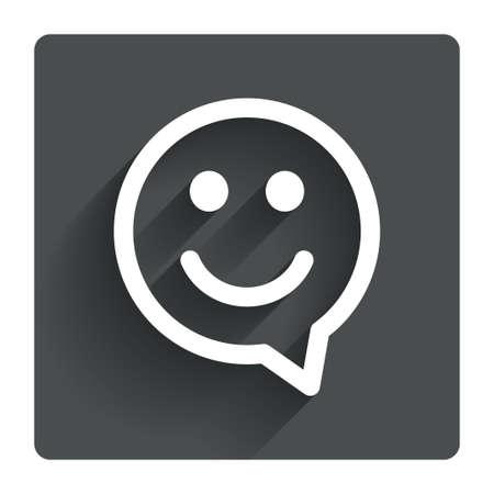 sonrisa: Cara feliz de chat s�mbolo de la burbuja del discurso