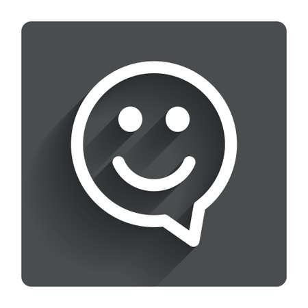 face to face: Happy face chat speech bubble symbol
