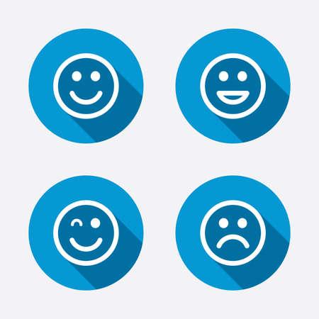 happy sad: Icone Sorriso. Felice, triste e occhiolino volti simbolo Vettoriali