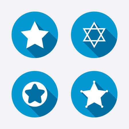 zion: Star of David icons. Sheriff police sign