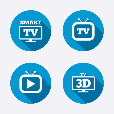 3d mode: Smart 3D TV mode icon. Widescreen symbol. Retro television and TV table signs. Circle concept web buttons. Vector Illustration