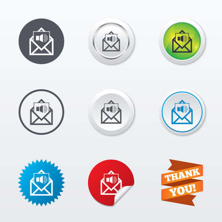 Voice mail icon. Speaker symbol. Audio message. Circle concept buttons. Metal edging. Star and label sticker. Vector