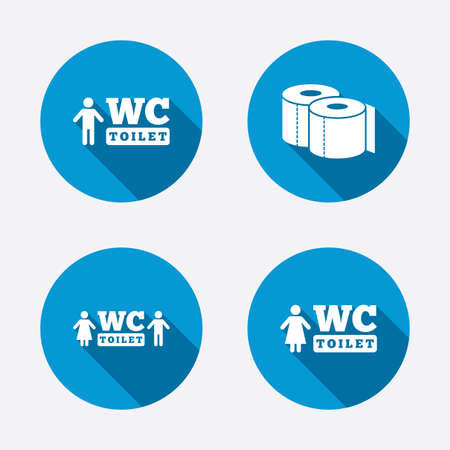 gents: Toilet paper icons. Gents and ladies room signs Illustration