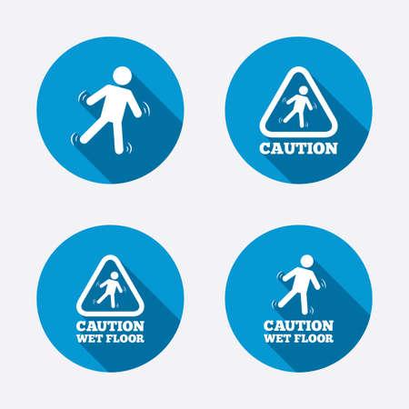 slippery floor: Caution wet floor icons