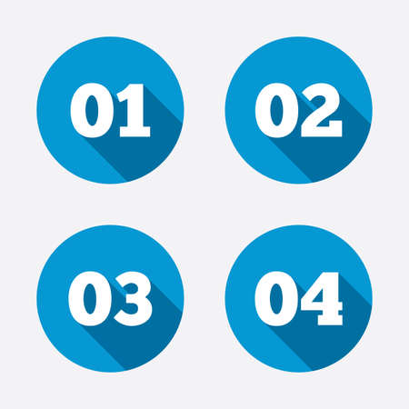 web 2 0: Step one, two, three and four icons