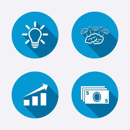 brainstorm: Chart with arrow, brainstorm icons