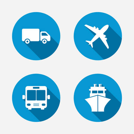 Transport icons. Truck, Airplane, Public bus and Ship signs. Shipping delivery symbol. Air mail delivery sign. Circle concept web buttons. Vector Illustration
