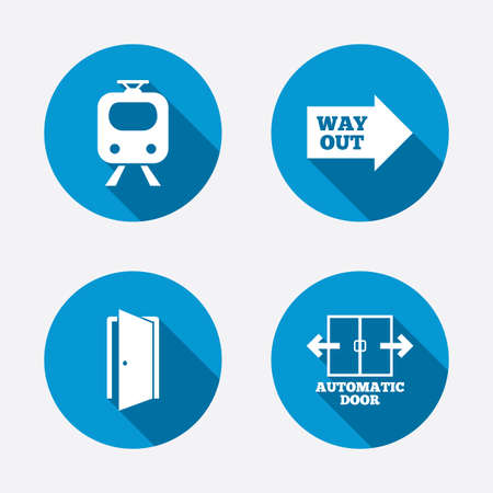 automatic doors: Train railway icon. Automatic door symbol. Way out arrow sign. Circle concept web buttons. Vector