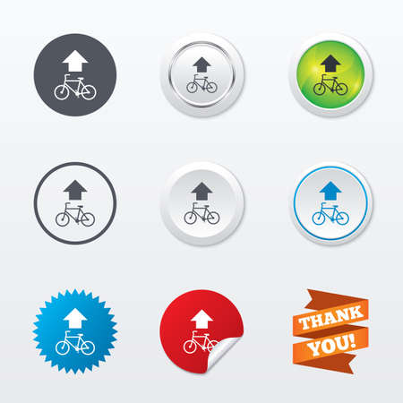 star path: Bicycle path trail sign icon. Cycle path. Up straight arrow symbol. Circle concept buttons. Metal edging. Star and label sticker. Vector