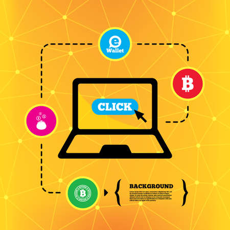 peer: Bitcoin icons. Electronic wallet sign. Cash money symbol. Notebook device orange background with icons. Vector
