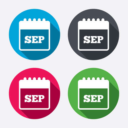 sep: Calendar sign icon. September month symbol. Circle buttons with long shadow. 4 icons set. Vector Illustration