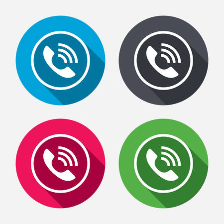 Phone sign icon. Call support center symbol. Communication technology. Circle buttons with long shadow. 4 icons set. Vector Vector