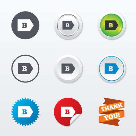 消費: エネルギー効率クラス B 記号アイコン。エネルギー消費のシンボル。サークル コンセプト ボタン。金属エッジング。スターとラベル ステッカー。ベクトル