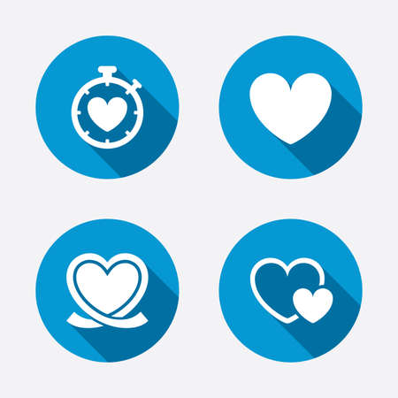 palpitation: Heart ribbon icon. Timer stopwatch symbol. Love and Heartbeat palpitation signs. Circle concept web buttons. Vector Illustration