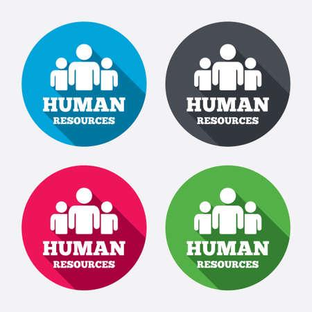 mensen kring: Human resources ondertekenen icoon. HR-symbool. Personeelsbestand van bedrijfsorganisatie. Groep mensen. Cirkel knoppen met lange schaduw. 4 iconen set. Vector