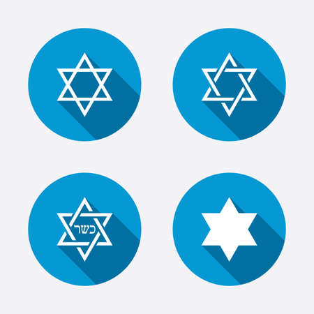 hexagram: Star of David sign icons. Symbol of Israel. Circle concept web buttons. Vector Illustration