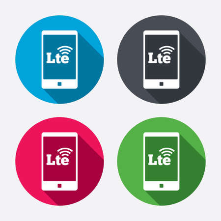 wireless communication: 4G LTE sign in smartphone icon. Long-Term evolution sign. Wireless communication technology symbol. Circle buttons with long shadow. 4 icons set. Vector Illustration