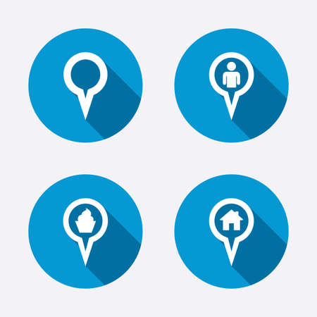 Map circle pointer icons. Home, food and user location symbols. Restaurant and cupcake signs. You are here. Circle concept web buttons. Vector Vector