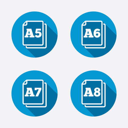 a7: Paper size standard icons. Document symbols. A5, A6, A7 and A8 page signs. Circle concept web buttons. Vector Illustration