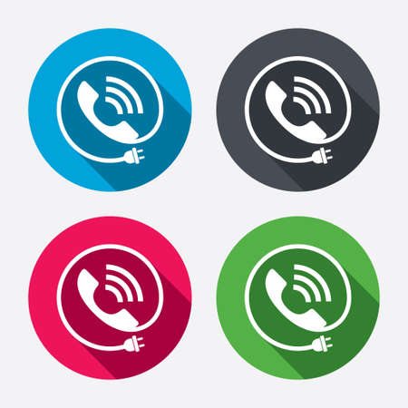Phone sign icon. Call support center symbol. Communication technology with electric plug. Circle buttons with long shadow. 4 icons set. Vector Vector
