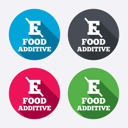 stabilizers: Food additive sign icon. Without E symbol. Healthy natural food. Circle buttons with long shadow. 4 icons set. Vector