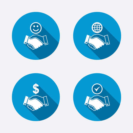 amicable: Handshake icons. World, Smile happy face and house building symbol. Dollar cash money. Amicable agreement. Circle concept web buttons. Vector